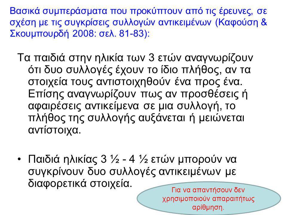 Βασικά συμπεράσματα που προκύπτουν από τις έρευνες, σε σχέση με τις συγκρίσεις συλλογών αντικειμένων (Καφούση & Σκουμπουρδή 2008: σελ. 81-83): Τα παιδ