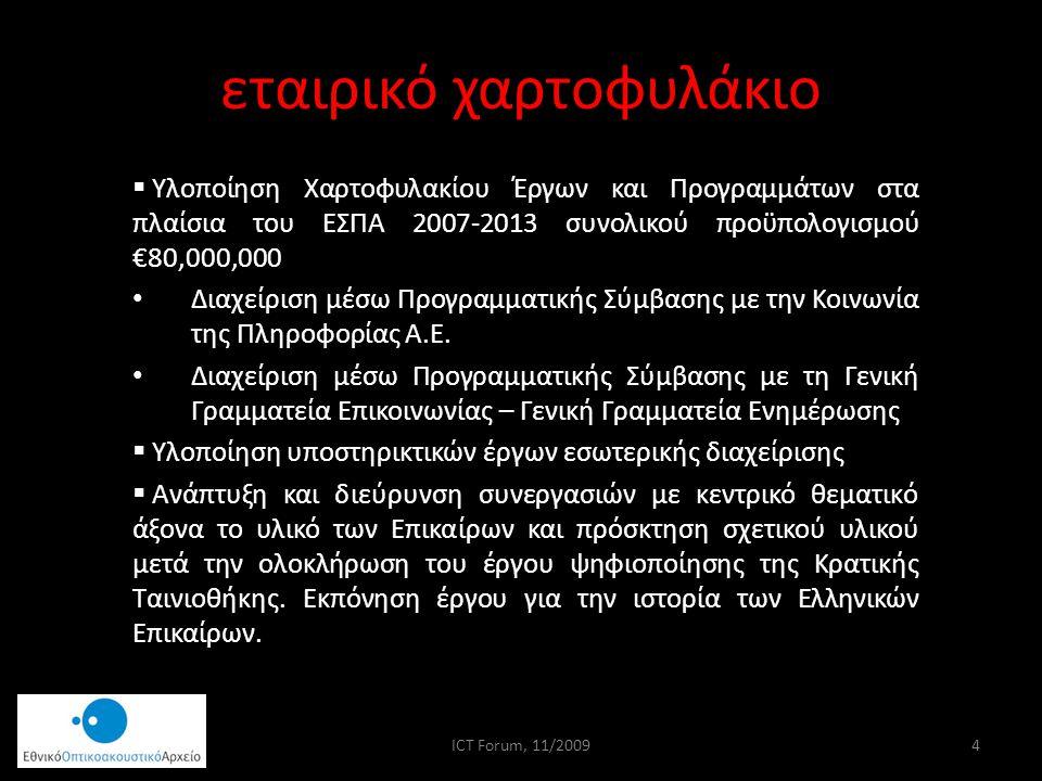 εταιρικό χαρτοφυλάκιο  Υλοποίηση Χαρτοφυλακίου Έργων και Προγραμμάτων στα πλαίσια του ΕΣΠΑ 2007-2013 συνολικού προϋπολογισμού €80,000,000 Διαχείριση μέσω Προγραμματικής Σύμβασης με την Κοινωνία της Πληροφορίας Α.Ε.