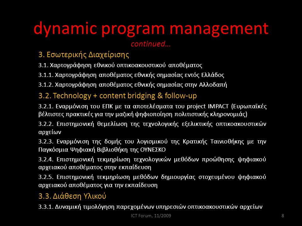 dynamic program management continued… 3. Εσωτερικής Διαχείρισης 3.1.