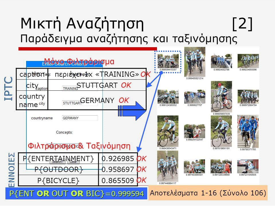 Μικτή Αναζήτηση [2] Παράδειγμα αναζήτησης και ταξινόμησης Αποτελέσματα 1-16 (Σύνολο 106) P{ENTERTAINMENT}0.926985 P{OUTDOOR}0.958697 P{BICYCLE}0.865509 captionπεριέχει 1x «TRAINING» citySTUTTGART country name GERMANY Μόνο Φιλτράρισμα Φιλτράρισμα & Ταξινόμηση ΟΚ ΟΚ ΟΚ ΟΚ ΟΚ ΟΚ P{ENT OR OUT OR BIC}= 0.999594 IPTC ΕΝΝΟΙΕΣ