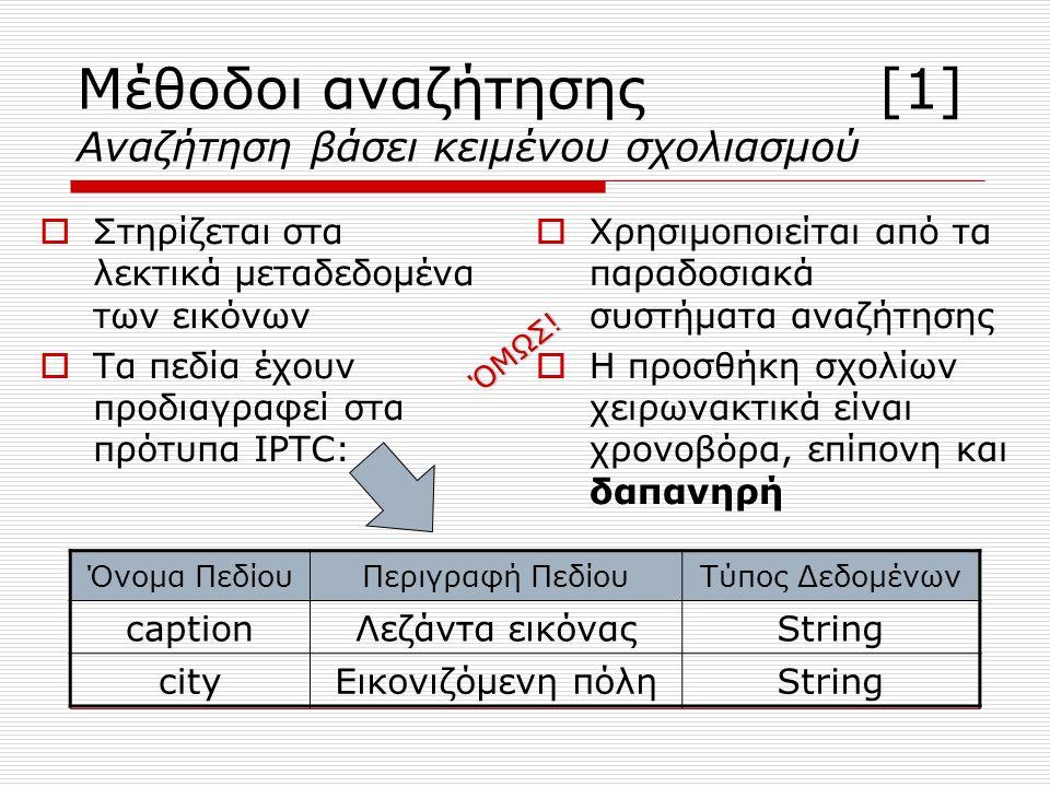 Μέθοδοι αναζήτησης [1] Αναζήτηση βάσει κειμένου σχολιασμού  Στηρίζεται στα λεκτικά μεταδεδομένα των εικόνων  Τα πεδία έχουν προδιαγραφεί στα πρότυπα IPTC: ΧΧρησιμοποιείται από τα παραδοσιακά συστήματα αναζήτησης ΗΗ προσθήκη σχολίων χειρωνακτικά είναι χρονοβόρα, επίπονη και δαπανηρή Όνομα ΠεδίουΠεριγραφή ΠεδίουΤύπος Δεδομένων captionΛεζάντα εικόναςString cityΕικονιζόμενη πόληString ΌΜΩΣ!