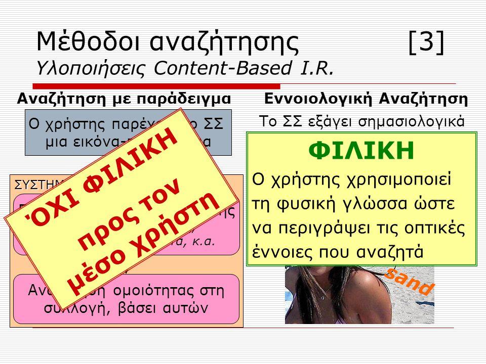 ΣΥΣΤΗΜΑ Μέθοδοι αναζήτησης [3] Υλοποιήσεις Content-Based I.R.