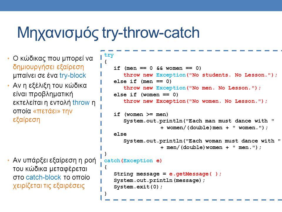 Μηχανισμός try-throw-catch Ο κώδικας που μπορεί να δημιουργήσει εξαίρεση μπαίνει σε ένα try-block Αν η εξέλιξη του κώδικα είναι προβληματική εκτελείται η εντολή throw η οποία «πετάει» την εξαίρεση Αν υπάρξει εξαίρεση η ροή του κώδικα μεταφέρεται στο catch-block το οποίο χειρίζεται τις εξαιρέσεις try { if (men == 0 && women == 0) throw new Exception( No students.