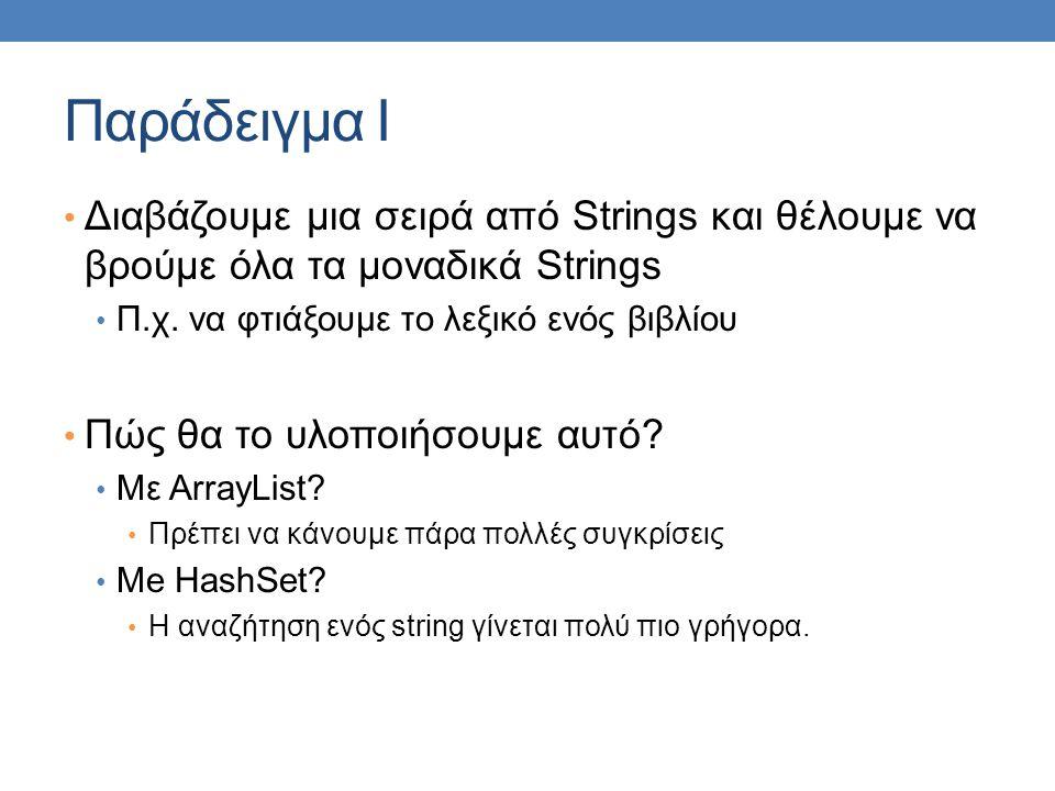 Παράδειγμα I Διαβάζουμε μια σειρά από Strings και θέλουμε να βρούμε όλα τα μοναδικά Strings Π.χ. να φτιάξουμε το λεξικό ενός βιβλίου Πώς θα το υλοποιή