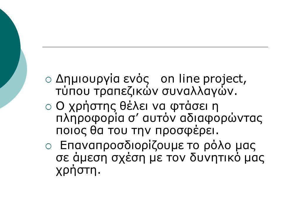  Δημιουργία ενός on line project, τύπου τραπεζικών συναλλαγών.  Ο χρήστης θέλει να φτάσει η πληροφορία σ' αυτόν αδιαφορώντας ποιος θα του την προσφέ
