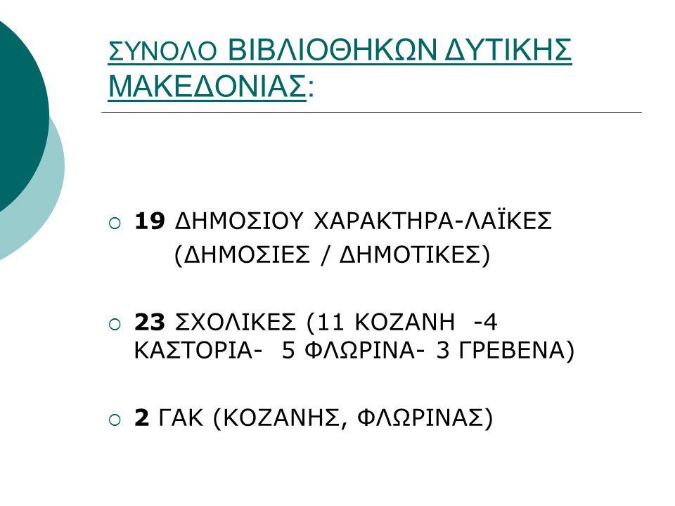 ΣΥΝΟΛΟ ΒΙΒΛΙΟΘΗΚΩΝ ΔΥΤΙΚΗΣ ΜΑΚΕΔΟΝΙΑΣ:  19 ΔΗΜΟΣΙΟΥ ΧΑΡΑΚΤΗΡΑ-ΛΑΪΚΕΣ (ΔΗΜΟΣΙΕΣ / ΔΗΜΟΤΙΚΕΣ)  23 ΣΧΟΛΙΚΕΣ (11 ΚΟΖΑΝΗ -4 ΚΑΣΤΟΡΙΑ- 5 ΦΛΩΡΙΝΑ- 3 ΓΡΕΒΕΝ