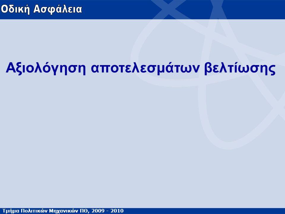 Τμήμα Πολιτικών Μηχανικών ΠΘ, 2009 - 2010 Αξιολόγηση αποτελεσμάτων βελτίωσης
