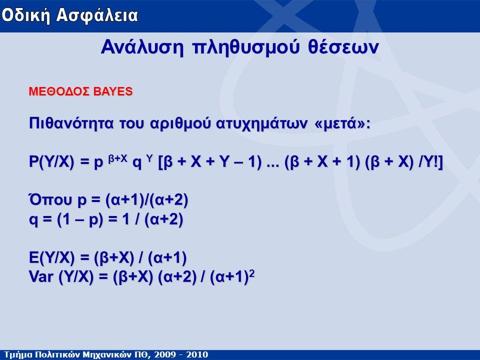 Τμήμα Πολιτικών Μηχανικών ΠΘ, 2009 - 2010 Ανάλυση πληθυσμού θέσεων ΜΕΘΟΔΟΣ BAYES Πιθανότητα του αριθμού ατυχημάτων «μετά»: Ρ(Υ/Χ) = p β+X q Y [β + Χ +