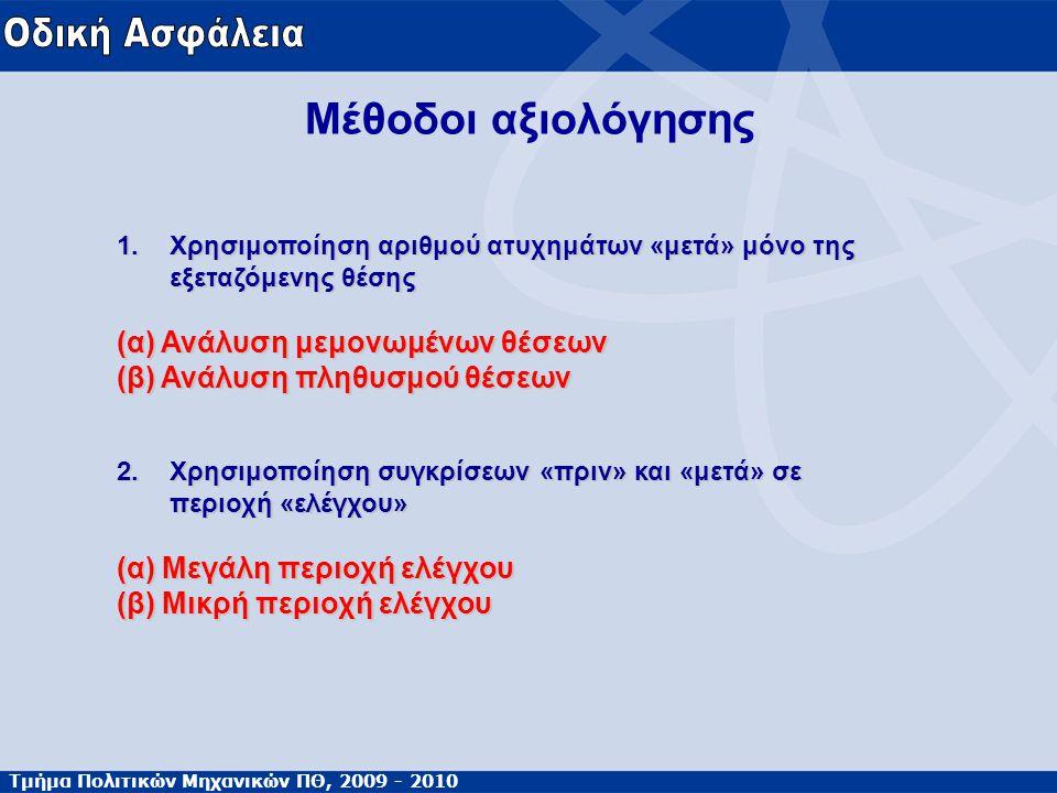 Τμήμα Πολιτικών Μηχανικών ΠΘ, 2009 - 2010 Μέθοδοι αξιολόγησης 1.Χρησιμοποίηση αριθμού ατυχημάτων «μετά» μόνο της εξεταζόμενης θέσης (α) Ανάλυση μεμονω