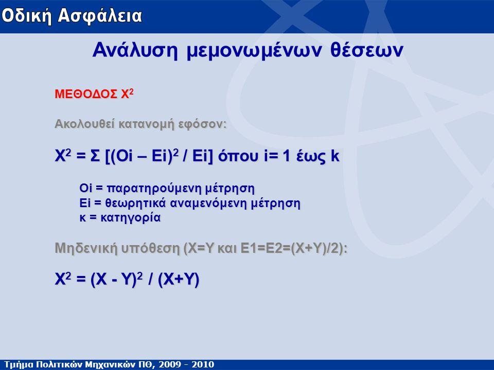 Τμήμα Πολιτικών Μηχανικών ΠΘ, 2009 - 2010 Ανάλυση μεμονωμένων θέσεων ΜΕΘΟΔΟΣ Χ ΜΕΘΟΔΟΣ Χ 2 Ακολουθεί κατανομή εφόσον: Χ 2 = Σ [(Oi – Ei) 2 / Ei] όπου