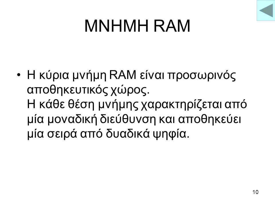 9 ΜΝΗΜΗ Η Μνήμη είναι ένα βασικό μέρος του Ηλεκτρονικού Υπολογιστή Υπάρχουν πολλά είδη μνήμης όπως : –Μνήμη RAMΜνήμη RAM –Μνήμη ROMΜνήμη ROM –Μνήμη PR
