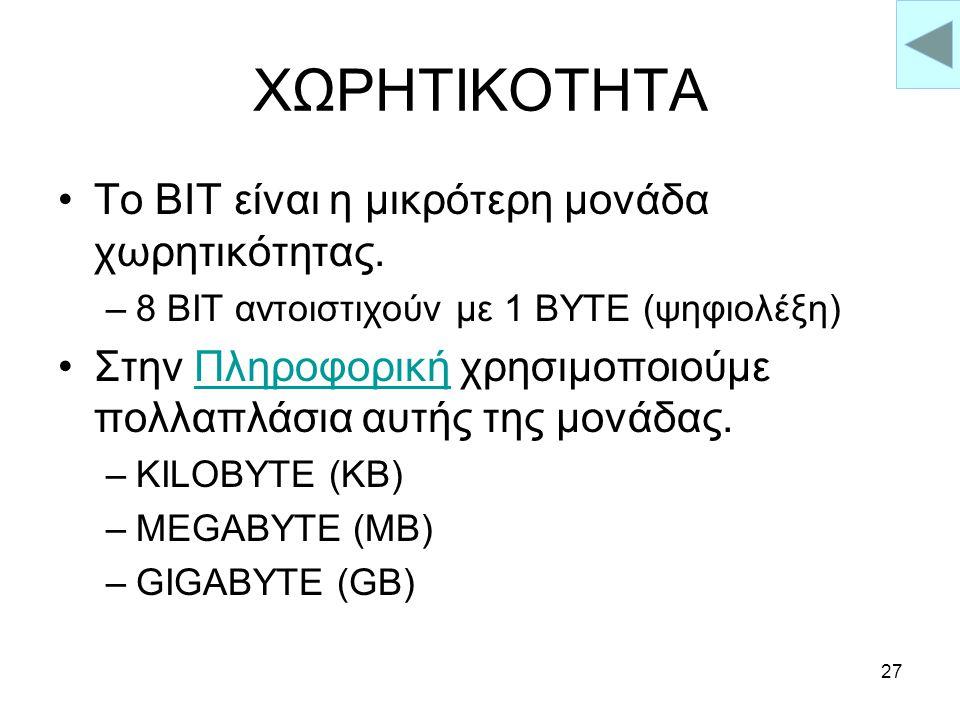 26 ΛΕΙΤΟΥΡΓΙΚΟ ΣΥΣΤΗΜΑ DOS WIN 95 / 98 WIN NT UNIX LINUX