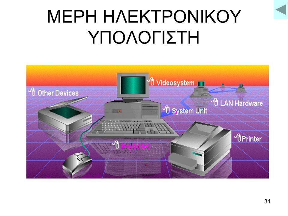30 ΗΛΕΚΤΡΟΝΙΚΟΣ ΥΠΟΛΟΓΙΣΤΗΣ Είναι μια αυτόματη συσκεύη που δέχεται φυλάσει, επεξεργάζεται και επαναφέρει πληροφορίες βάση προκαθορισμένων εντολών.