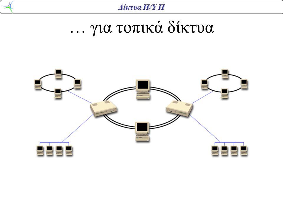 Δίκτυα Η/Υ ΙΙ Δύο δακτύλιοι οπτικών ινών Σταθμοί κλάσης Α: συνδέονται και στους δύο δακτυλίους Σταθμοί κλάσης Β: συνδέονται στον ένα δακτύλιο