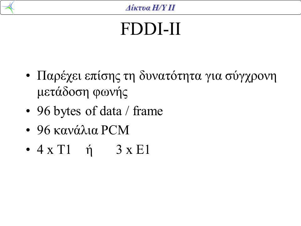 Δίκτυα Η/Υ ΙΙ FDDI-II Παρέχει επίσης τη δυνατότητα για σύγχρονη μετάδοση φωνής 96 bytes of data / frame 96 κανάλια PCM 4 x T1 ή 3 x E1