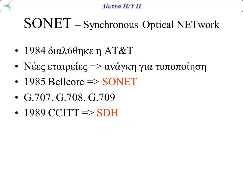 Δίκτυα Η/Υ ΙΙ SONET – Synchronous Optical NETwork 1984 διαλύθηκε η ΑΤ&Τ Νέες εταιρείες => ανάγκη για τυποποίηση 1985 Bellcore => SONET G.707, G.708, G