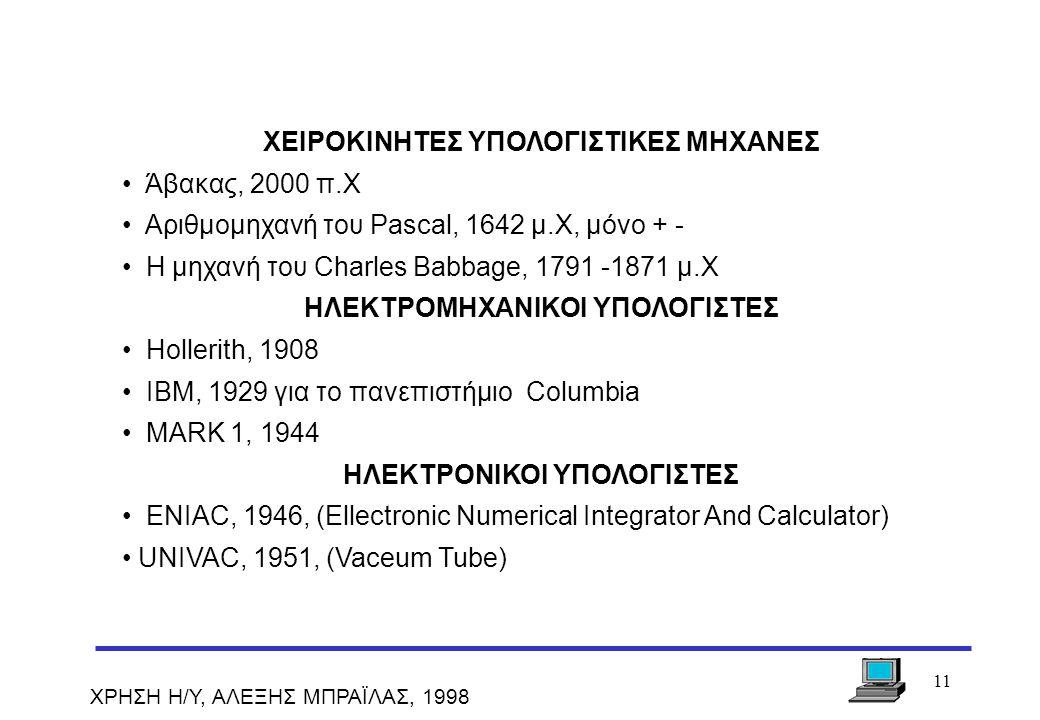 11 ΧΡΗΣΗ Η/Υ, ΑΛΕΞΗΣ ΜΠΡΑΪΛΑΣ, 1998 ΧΕΙΡΟΚΙΝΗΤΕΣ ΥΠΟΛΟΓΙΣΤΙΚΕΣ ΜΗΧΑΝΕΣ Άβακας, 2000 π.Χ Αριθμομηχανή του Pascal, 1642 μ.Χ, μόνο + - Η μηχανή του Charl