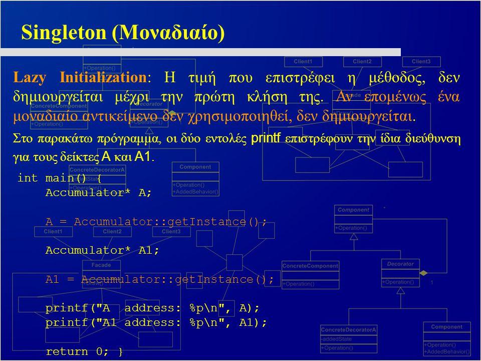 Singleton (Μοναδιαίο) Lazy Initialization: Η τιμή που επιστρέφει η μέθοδος, δεν δημιουργείται μέχρι την πρώτη κλήση της.