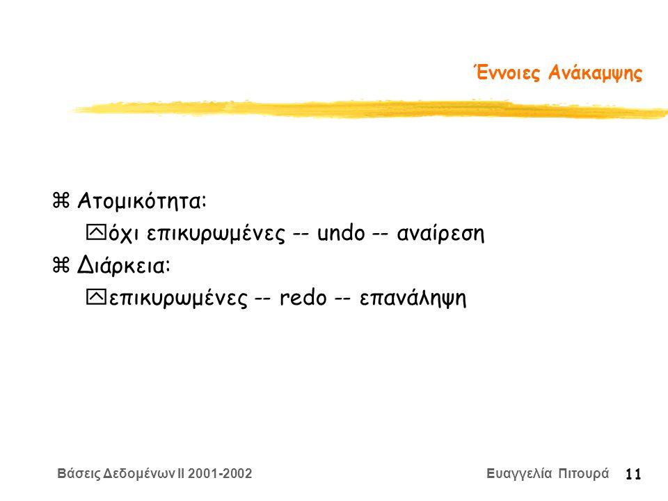 Βάσεις Δεδομένων II 2001-2002 Ευαγγελία Πιτουρά 11 Έννοιες Ανάκαμψης zΑτομικότητα: yόχι επικυρωμένες -- undo -- αναίρεση zΔιάρκεια: yεπικυρωμένες -- redo -- επανάληψη
