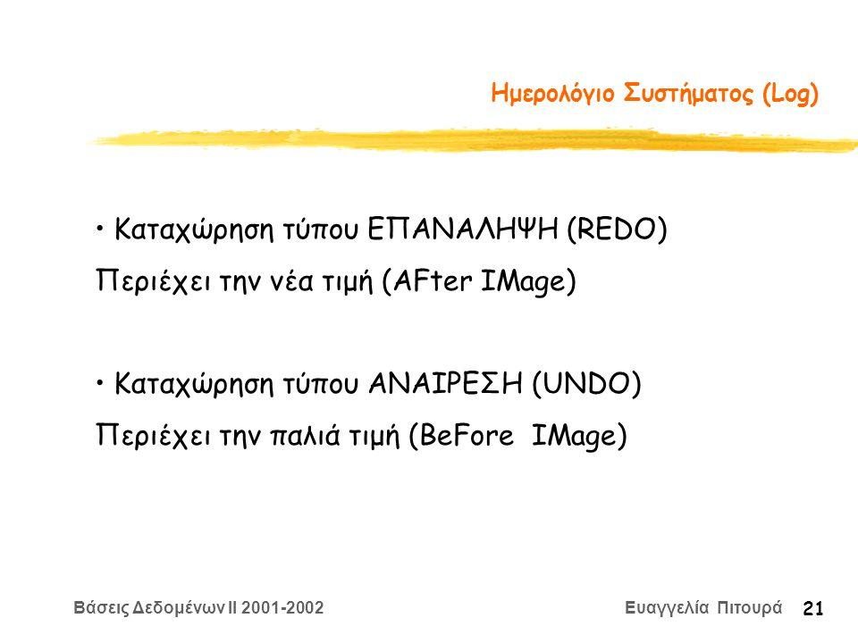 Βάσεις Δεδομένων II 2001-2002 Ευαγγελία Πιτουρά 21 Ημερολόγιο Συστήματος (Log) Καταχώρηση τύπου ΕΠΑΝΑΛΗΨΗ (REDO) Περιέχει την νέα τιμή (AFter IMage) Καταχώρηση τύπου ANAIΡΕΣΗ (UNDO) Περιέχει την παλιά τιμή (BeFore IMage)