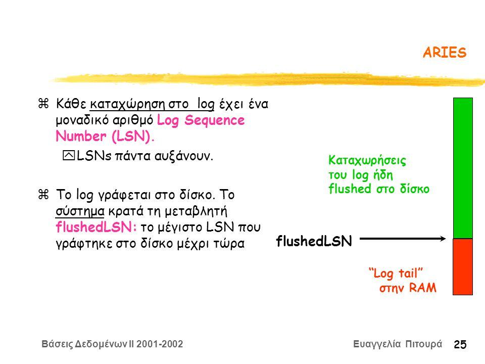Βάσεις Δεδομένων II 2001-2002 Ευαγγελία Πιτουρά 25 ARIES zΚάθε καταχώρηση στο log έχει ένα μοναδικό αριθμό Log Sequence Number (LSN).