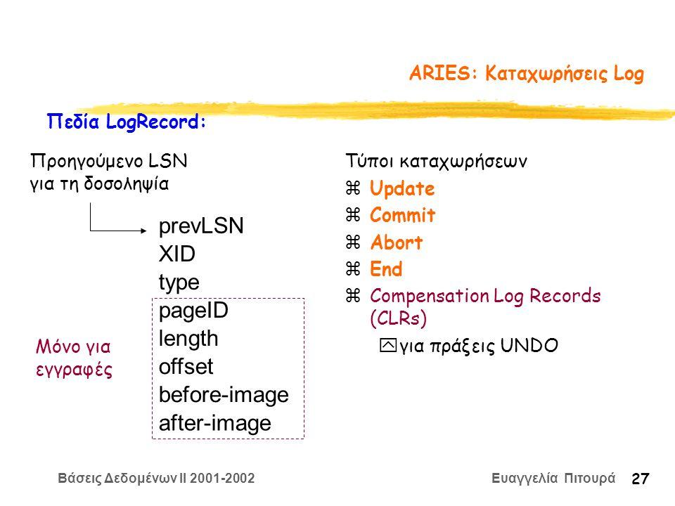 Βάσεις Δεδομένων II 2001-2002 Ευαγγελία Πιτουρά 27 ARIES: Καταχωρήσεις Log Τύποι καταχωρήσεων zUpdate zCommit zAbort zEnd zCompensation Log Records (CLRs) yγια πράξεις UNDO prevLSN XID type length pageID offset before-image after-image Πεδία LogRecord: Μόνο για εγγραφές Προηγούμενο LSN για τη δοσοληψία