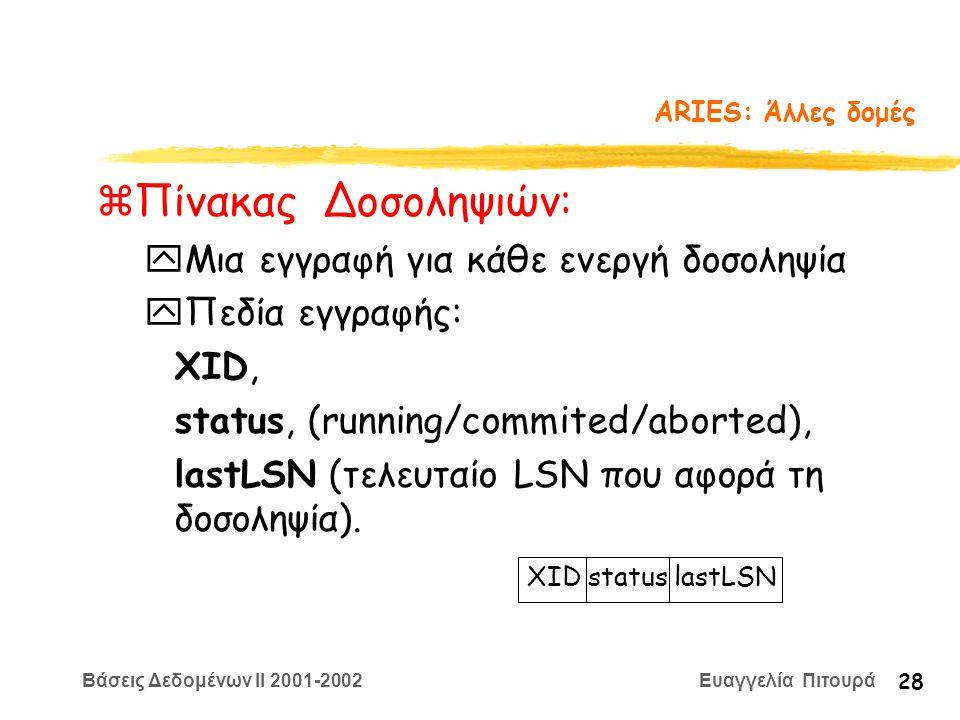 Βάσεις Δεδομένων II 2001-2002 Ευαγγελία Πιτουρά 28 ARIES: Άλλες δομές zΠίνακας Δοσοληψιών: yΜια εγγραφή για κάθε ενεργή δοσοληψία yΠεδία εγγραφής: XID, status, (running/commited/aborted), lastLSN (τελευταίο LSN που αφορά τη δοσοληψία).