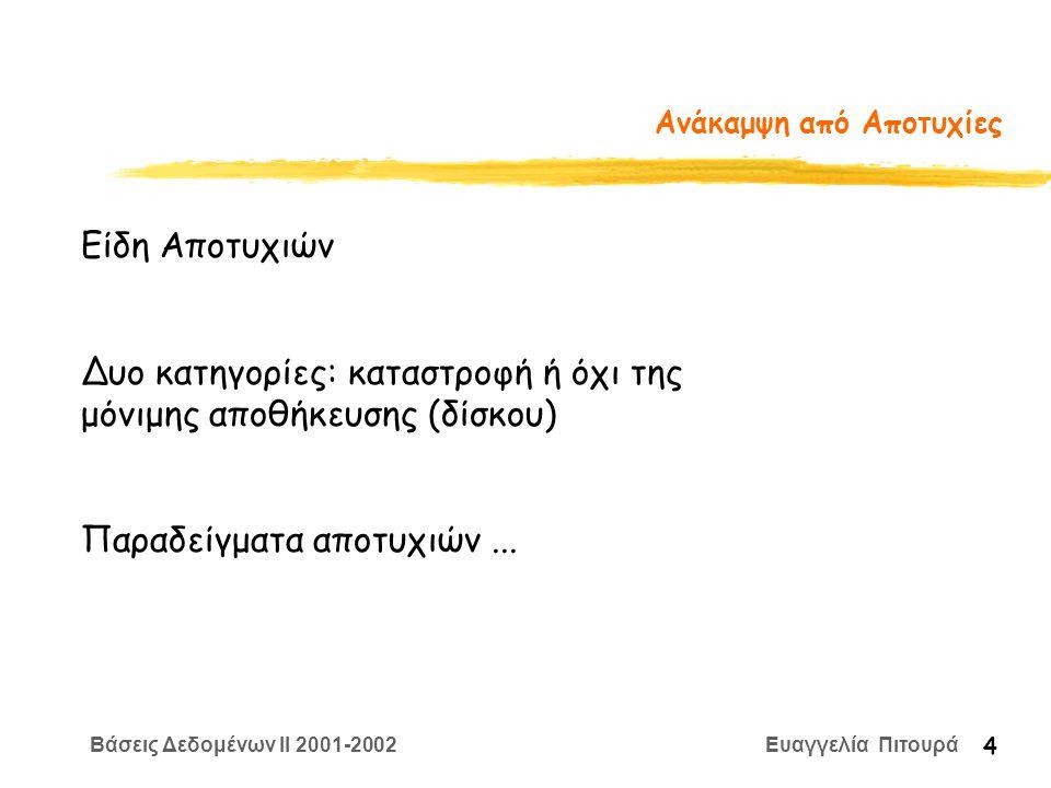 Βάσεις Δεδομένων II 2001-2002 Ευαγγελία Πιτουρά 4 Ανάκαμψη από Αποτυχίες Είδη Αποτυχιών Δυο κατηγορίες: καταστροφή ή όχι της μόνιμης αποθήκευσης (δίσκου) Παραδείγματα αποτυχιών...