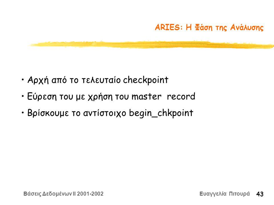 Βάσεις Δεδομένων II 2001-2002 Ευαγγελία Πιτουρά 43 ARIES: Η Φάση της Ανάλυσης Αρχή από το τελευταίο checkpoint Εύρεση του με χρήση του master record Βρίσκουμε το αντίστοιχο begin_chkpoint