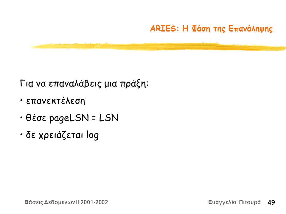 Βάσεις Δεδομένων II 2001-2002 Ευαγγελία Πιτουρά 49 ARIES: Η Φάση της Επανάληψης Για να επαναλάβεις μια πράξη: επανεκτέλεση θέσε pageLSN = LSN δε χρειάζεται log