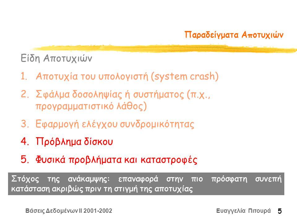 Βάσεις Δεδομένων II 2001-2002 Ευαγγελία Πιτουρά 5 Παραδείγματα Αποτυχιών Είδη Αποτυχιών 1.Αποτυχία του υπολογιστή (system crash) 2.Σφάλμα δοσοληψίας ή συστήματος (π.χ., προγραμματιστικό λάθος) 3.Εφαρμογή ελέγχου συνδρομικότητας 4.Πρόβλημα δίσκου 5.Φυσικά προβλήματα και καταστροφές Στόχος της ανάκαμψης: επαναφορά στην πιο πρόσφατη συνεπή κατάσταση ακριβώς πριν τη στιγμή της αποτυχίας