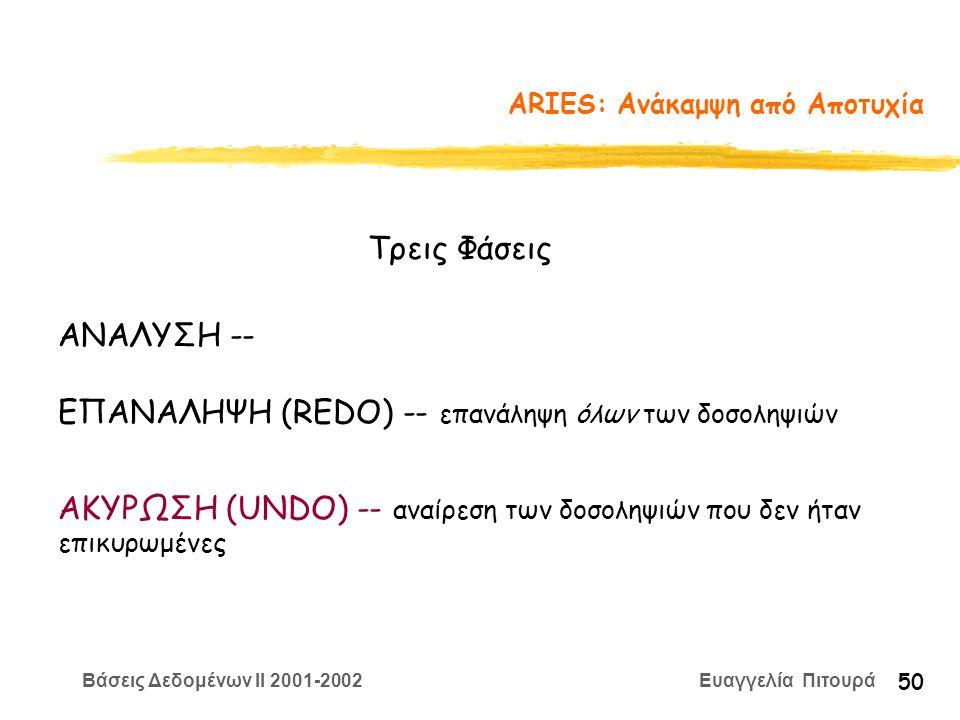 Βάσεις Δεδομένων II 2001-2002 Ευαγγελία Πιτουρά 50 ARIES: Ανάκαμψη από Αποτυχία Τρεις Φάσεις ΑΝΑΛΥΣΗ -- ΕΠΑΝΑΛΗΨΗ (REDO) -- επανάληψη όλων των δοσοληψιών ΑΚΥΡΩΣΗ (UNDO) -- αναίρεση των δοσοληψιών που δεν ήταν επικυρωμένες