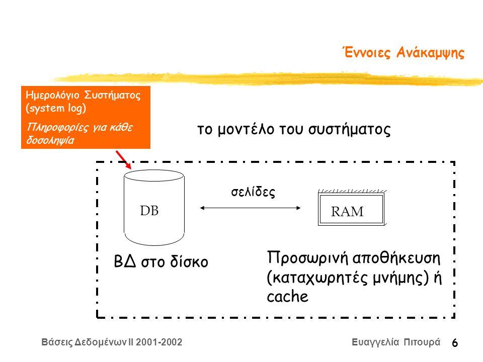 Βάσεις Δεδομένων II 2001-2002 Ευαγγελία Πιτουρά 7 Ημερολόγιο Συστήματος (Log) Για να είναι δυνατή η ανάκαμψη από αποτυχίες, καταχωρούνται πληροφορίες για τις πράξεις των δοσοληψιών Αποθηκεύονται στο δίσκο Τύποι πληροφορίας: έναρξη δοσοληψίας εγγραφή στοιχείου (παλιά, νέα τιμή) ανάγνωση στοιχείου επικύρωση/ακύρωση