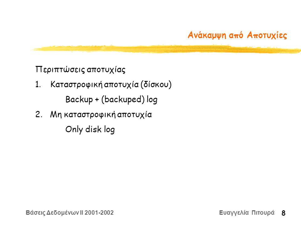 Βάσεις Δεδομένων II 2001-2002 Ευαγγελία Πιτουρά 29 ARIES: Άλλες δομές zΠίνακας Τροποποιημένων σελίδων: yΜια εγγραφή για κάθε τροποποιημένη σελίδα στη μνήμη.