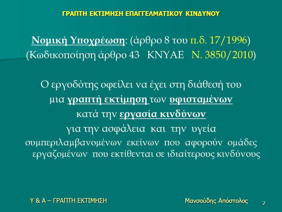 Υ & Α – ΓΡΑΠΤΗ ΕΚΤΙΜΗΣΗ Μανσούδης Απόστολος ΓΡΑΠΤΗ ΕΚΤΙΜΗΣΗ ΕΠΑΓΓΕΛΜΑΤΙΚΟΥ ΚΙΝΔΥΝΟΥ Νομική Υποχρέωση : (άρθρο 8 του π.δ. 17/1996) (Κωδικοποίηση άρθρο