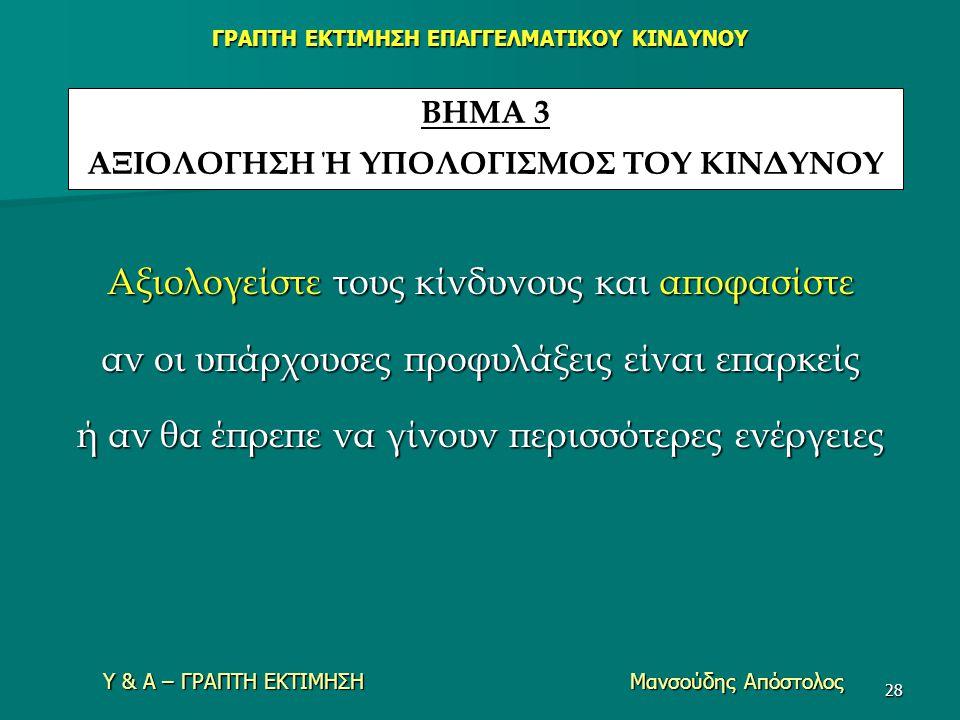 Υ & Α – ΓΡΑΠΤΗ ΕΚΤΙΜΗΣΗ Μανσούδης Απόστολος 28 Αξιολογείστε τους κίνδυνους και αποφασίστε αν οι υπάρχουσες προφυλάξεις είναι επαρκείς ή αν θα έπρεπε ν