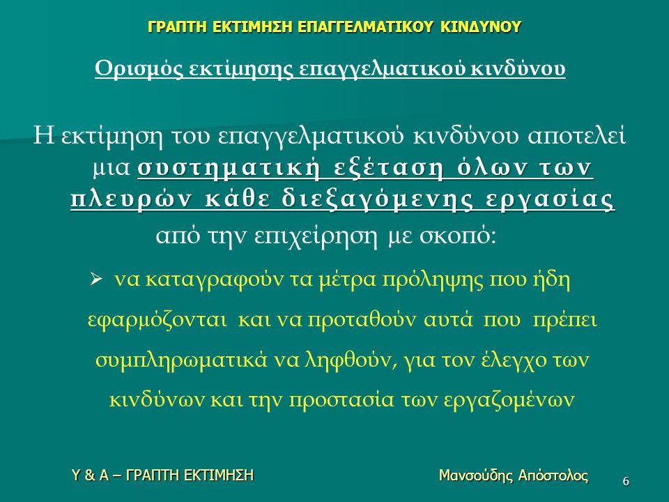 Υ & Α – ΓΡΑΠΤΗ ΕΚΤΙΜΗΣΗ Μανσούδης Απόστολος 6 Ορισμός εκτίµησης επαγγελµατικού κινδύνου συστηματική εξέταση όλων των πλευρών κάθε διεξαγόμενης εργασία