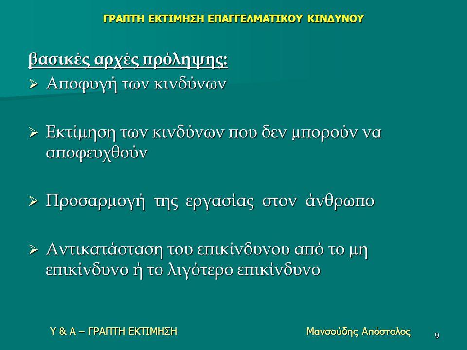 Υ & Α – ΓΡΑΠΤΗ ΕΚΤΙΜΗΣΗ Μανσούδης Απόστολος 9 βασικές αρχές πρόληψης:  Aποφυγή των κινδύνων  Eκτίµηση των κινδύνων που δεν µπορούν να αποφευχθούν 