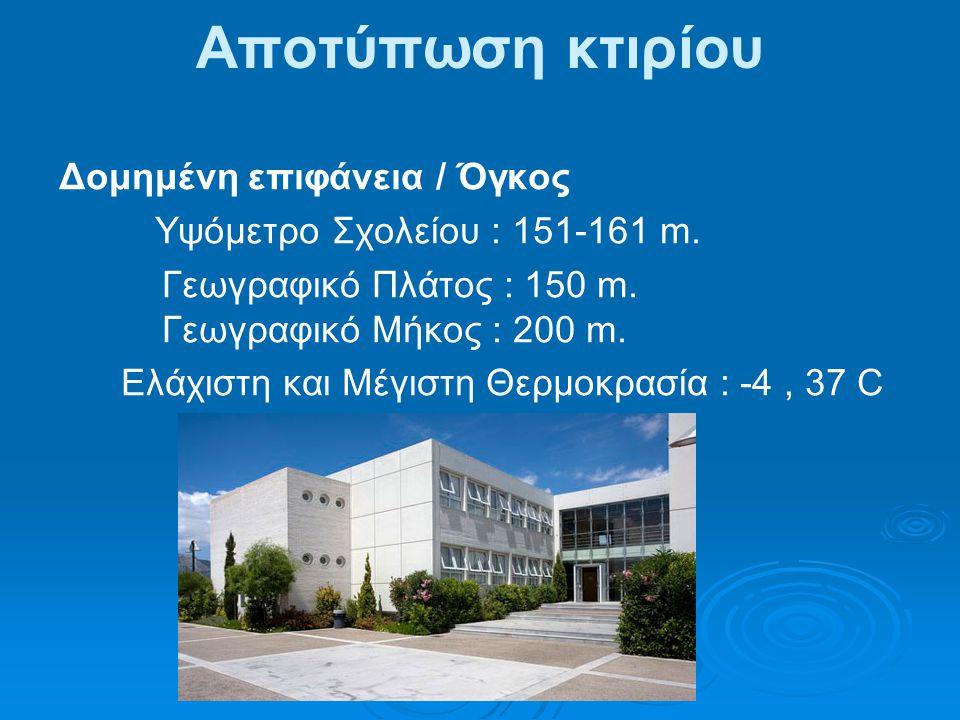 Αποτύπωση κτιρίου Δομημένη επιφάνεια / Όγκος Υψόμετρο Σχολείου : 151-161 m.