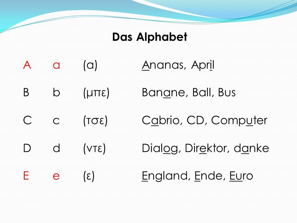 Das Alphabet Aa(α)Ananas, April Bb(μπε)Banane, Ball, Bus Cc(τσε)Cabrio, CD, Computer Dd(ντε)Dialog, Direktor, danke Ee(ε)England, Ende, Euro