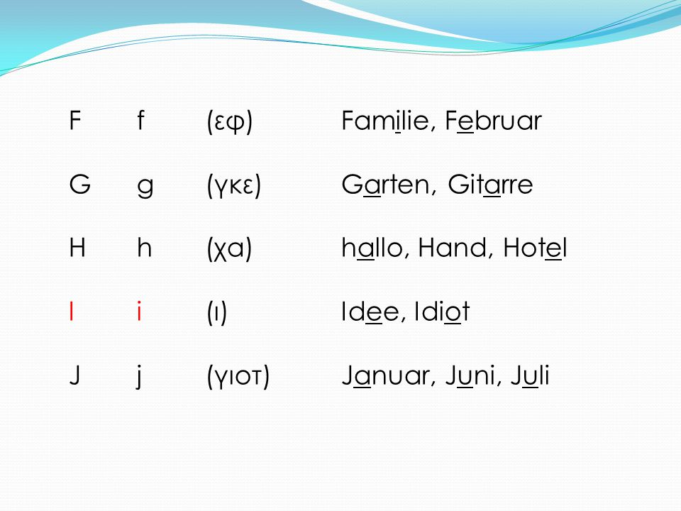 Ff(εφ)Familie, Februar Gg(γκε)Garten, Gitarre Hh(χα)hallo, Hand, Hotel Ii(ι)Idee, Idiot Jj(γιοτ)Januar, Juni, Juli