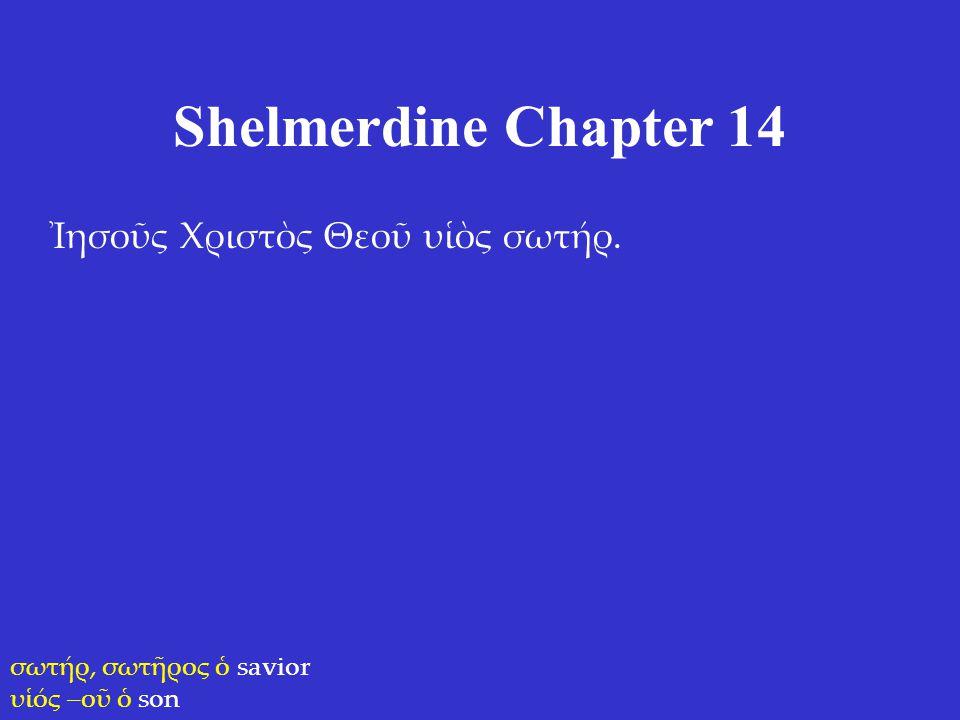 Shelmerdine Chapter 14 Ἰησοῦς Χριστὸς Θεοῦ υἱὸς σωτήρ. σωτήρ, σωτῆρος ὁ savior υἱός –οῦ ὁ son