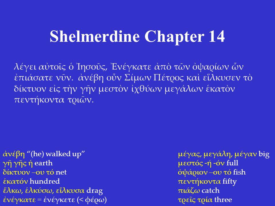 Shelmerdine Chapter 14 λέγει αὐτοῖς ὁ Ἰησοῦς, Ἐνέγκατε ἀπὸ τῶν ὀψαρίων ὧν ἐπιάσατε νῦν.