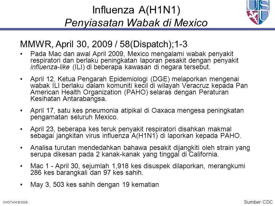 CHOTANI © 2009. Influenza A(H1N1) Penyiasatan Wabak di Mexico MMWR, April 30, 2009 / 58(Dispatch);1-3 Pada Mac dan awal April 2009, Mexico mengalami w