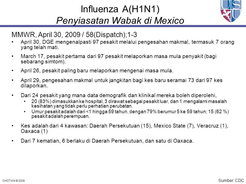 CHOTANI © 2009. Influenza A(H1N1) Penyiasatan Wabak di Mexico MMWR, April 30, 2009 / 58(Dispatch);1-3 April 30, DGE mengenalpasti 97 pesakit melalui p