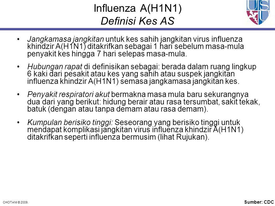 CHOTANI © 2009. Influenza A(H1N1) Definisi Kes AS Jangkamasa jangkitan untuk kes sahih jangkitan virus influenza khindzir A(H1N1) ditakrifkan sebagai