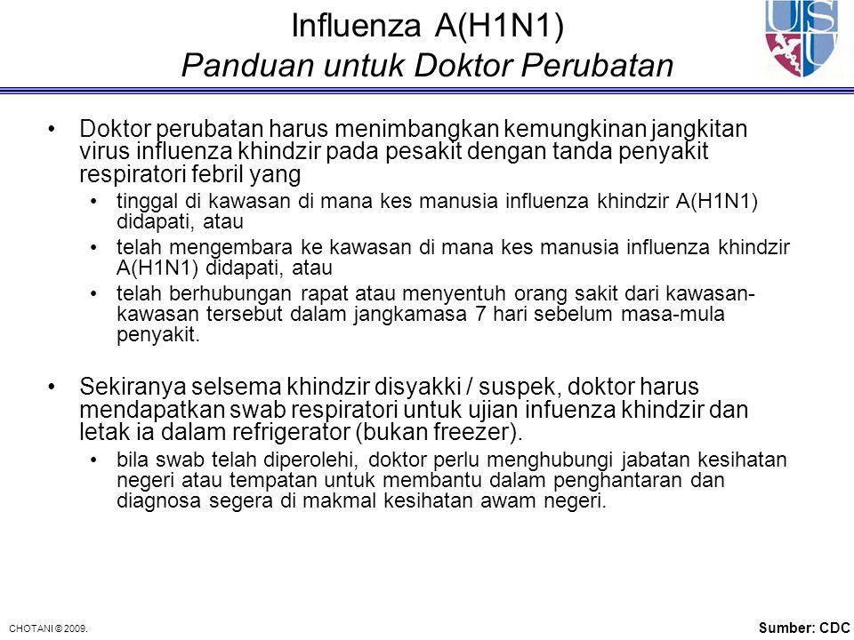 CHOTANI © 2009. Influenza A(H1N1) Panduan untuk Doktor Perubatan Doktor perubatan harus menimbangkan kemungkinan jangkitan virus influenza khindzir pa