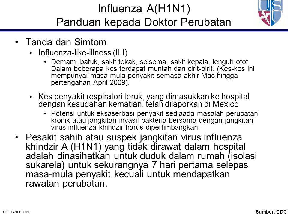 CHOTANI © 2009. Influenza A(H1N1) Panduan kepada Doktor Perubatan Tanda dan Simtom Influenza-like-illness (ILI) Demam, batuk, sakit tekak, selsema, sa
