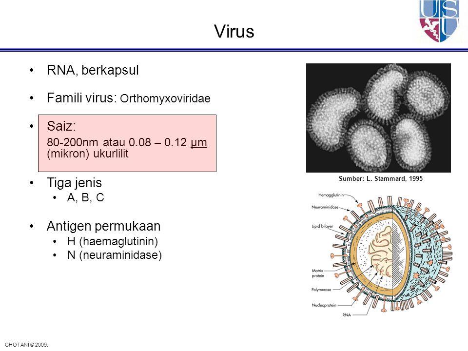 CHOTANI © 2009. Sumber: L. Stammard, 1995 RNA, berkapsul Famili virus: Orthomyxoviridae Saiz: 80-200nm atau 0.08 – 0.12 μm (mikron) ukurlilit Tiga jen