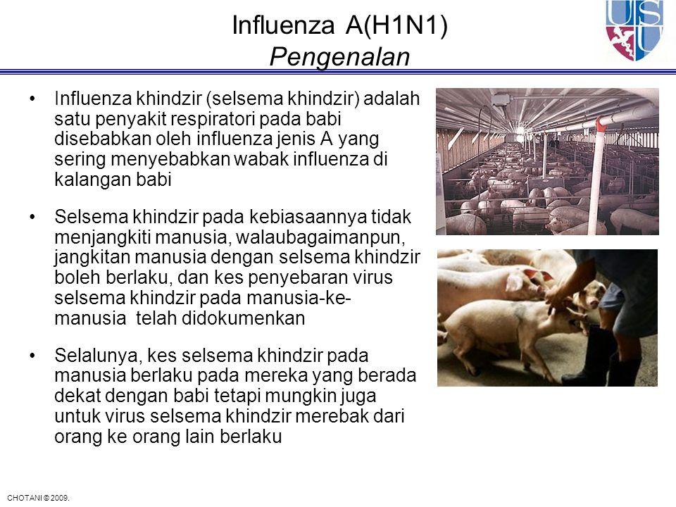 CHOTANI © 2009. Influenza A(H1N1) Pengenalan Influenza khindzir (selsema khindzir) adalah satu penyakit respiratori pada babi disebabkan oleh influenz